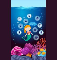 mermaid count number underwater vector image