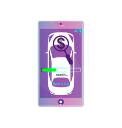 mobile app rent a car violet online rental vector image