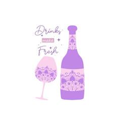 Modern design for wine bottle and angela glass vector
