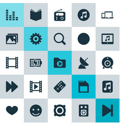 Music icons set collection of film next vector