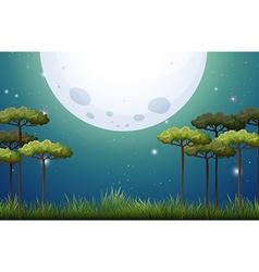 Nature scene on fullmoon night vector image
