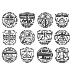 nautical icons marine seafarer ship anchor helm vector image