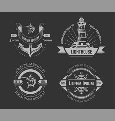 nautical or marine symbols isolated chalk sketch vector image