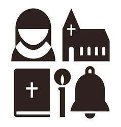 Nun church bible candle and bell icons vector