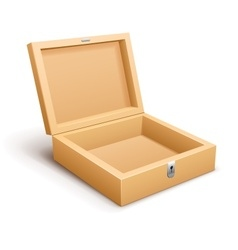Open empty wooden box isolated vector image