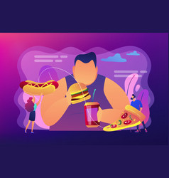 Overeating addiction concept vector