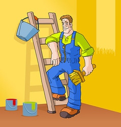 Painter in orange room vector