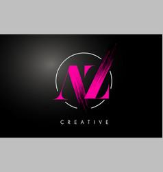 pink az brush stroke letter logo design vector image