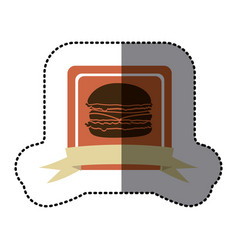 pink emblem hamburger fast food icon vector image