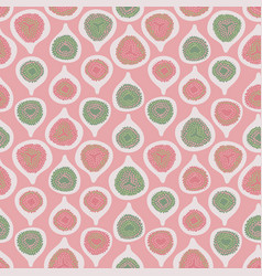 Pink green half-cut figs seamless repeat vector