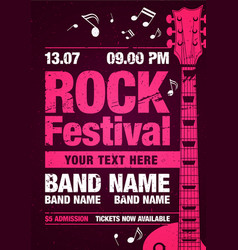 pink rock festival poster with guitar vector image