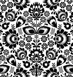 Polish folk seamless pattern in black and white vector image