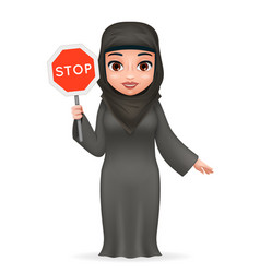 protest fight for equal rights stop sign arabe vector image
