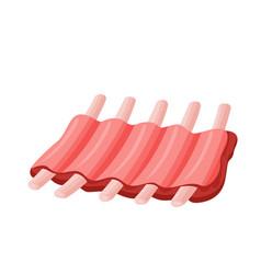 Raw pork ribs icon vector