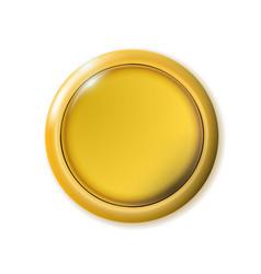 Realistic matte gold button metal circle ui vector