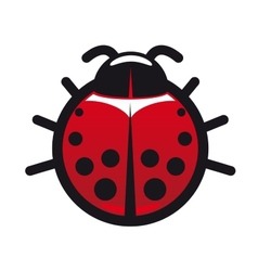 Red and black spotted ladybug icon vector