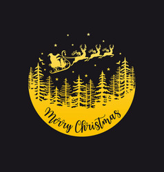 santa claus with reindeer and sleigh gold vector image