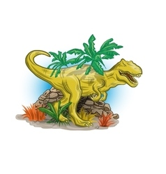 Scary dinosaur in jungle vector image