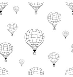 seamless pattern of black hot air balloons vector image