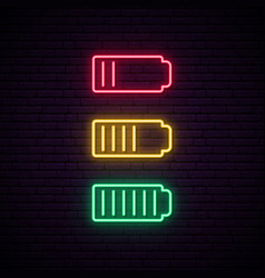 Set battery neon icon charger glowing sign vector