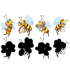 Set bee with musical instrument vector