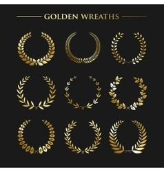set golden wreaths vector image
