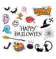 Set of cartoon graphic design halloween icons vector