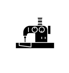 sewing machine black icon sign on isolated vector image