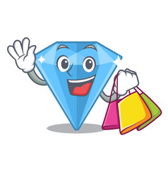 Shopping sapphire gems in cartoon shape vector