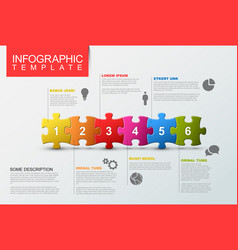 Six steps infographic template with puzzle pieces vector