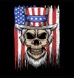 skull uncle sam usa flag vector image