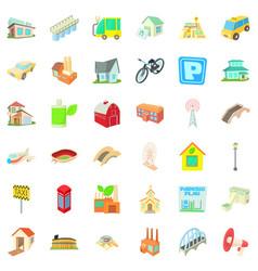 Small city icons set cartoon style vector