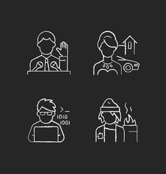 Social status type chalk white icons set on black vector