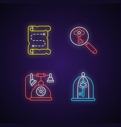 solving quest neon light icons set vector image