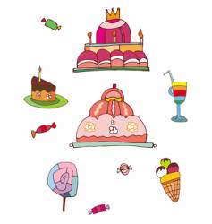 sweets and desserts set vector image