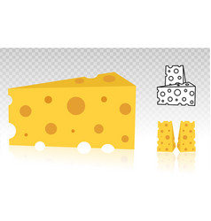 Swiss cheese or emmental cheese flat icon vector