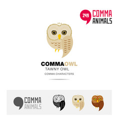 tawny owl bird concept icon set and modern logo vector image