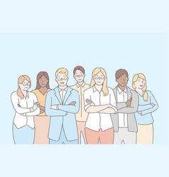Team businesspeople teamwork collaboration vector