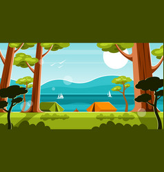 Tent camp in forest vector