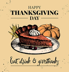 Thanksgiving Day background Vintage typographic vector