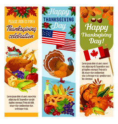 Thanksgiving day canadian banners vector