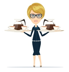 The waitress holding a tray of drink vector image