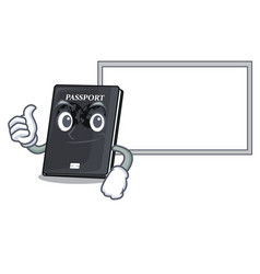 Thumbs up with board black passport in a cartoon vector