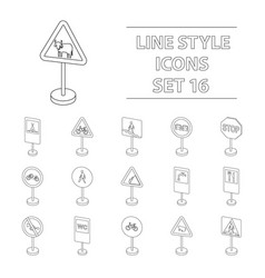 Transportation set icons in outline style big vector