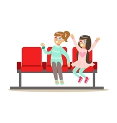 Two Girls Waiting Taking Seats In Cinema Room vector