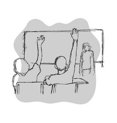 two students raising their hands in class for an vector image