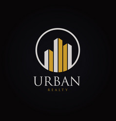 urban property logo with metal silver gold color vector image