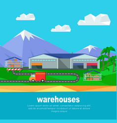 Warehouses in the mountains banner lorry track vector