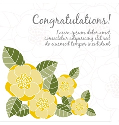 Wedding card with floral elements vector image