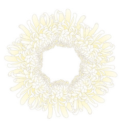 White chrysanthemum flower wreath vector